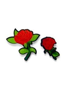 Rose Design Brooch Set 2pcs