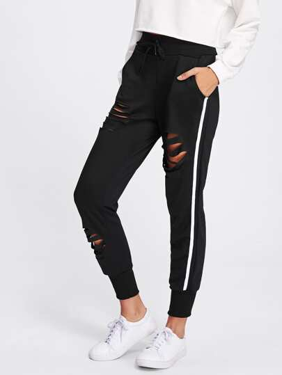 Ladder Cut Out Side Panel Sweatpants
