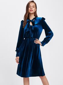 Bow Tie Front Frill Detail Velvet Dress