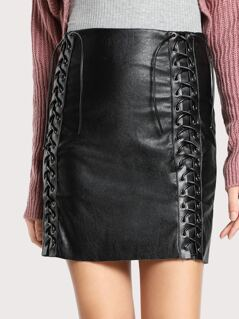 Front Lace Up Skirt BLACK