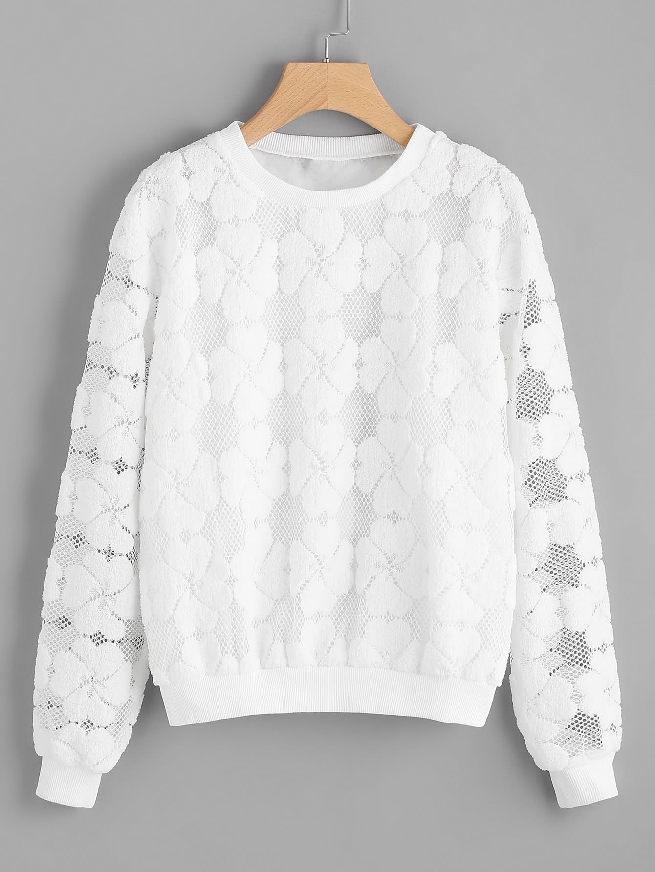 Flower Embroidered Contrast Sweatshirt contrast embroidered two tone plush top