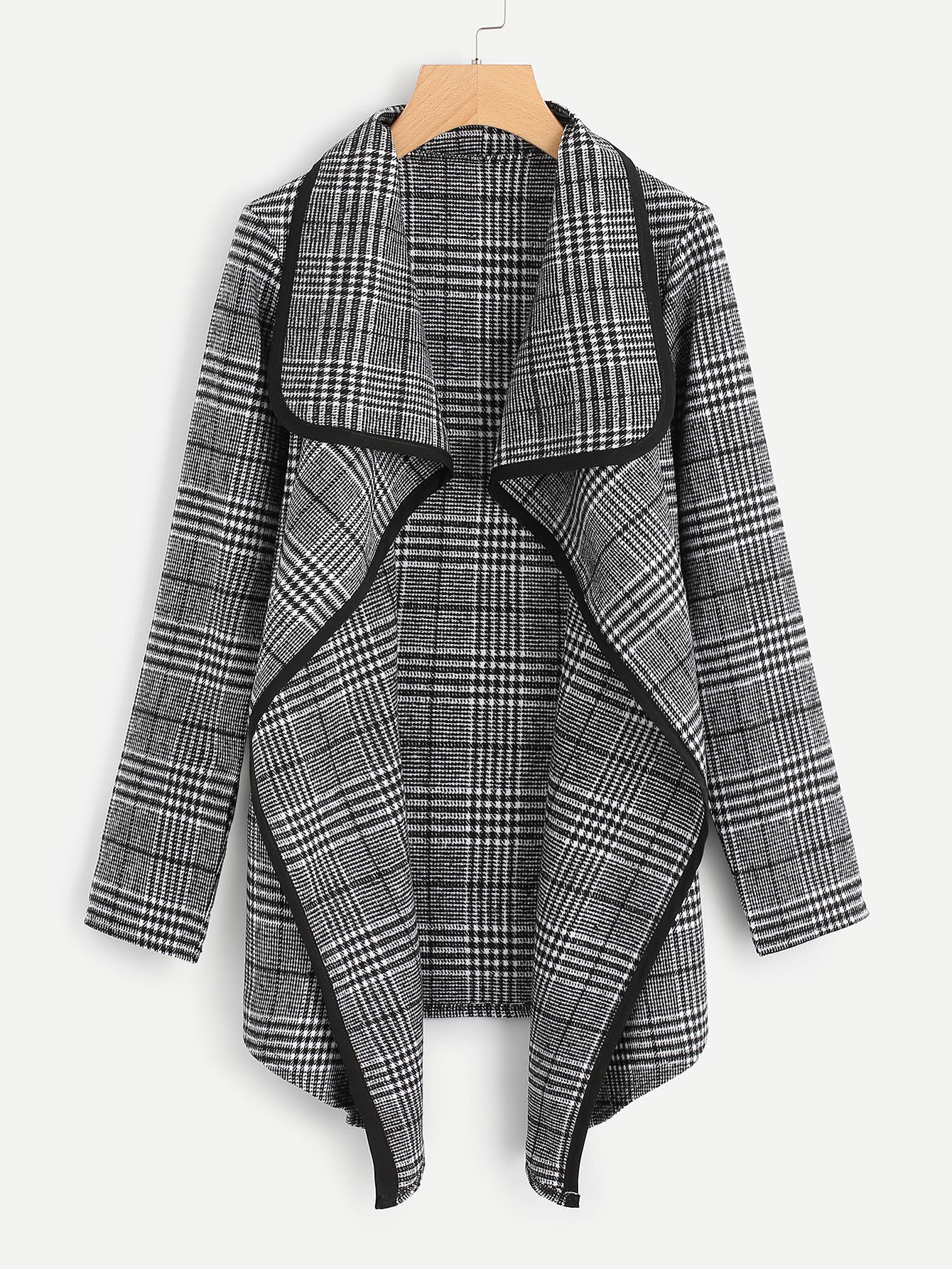 Tartan Plaid Waterfall Neck Jacket цена и фото