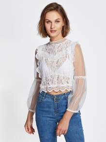 Lace Crochet Mesh Contrast See Through Blouse