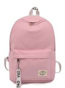 Pocket Front Patch Detail Canvas Backpack