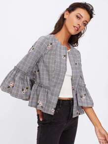 Frill Sleeve And Hem Embroidered Plaid Blazer