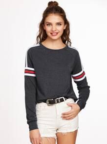 Varsity Striped Raglan Sleeve Sweatshirt