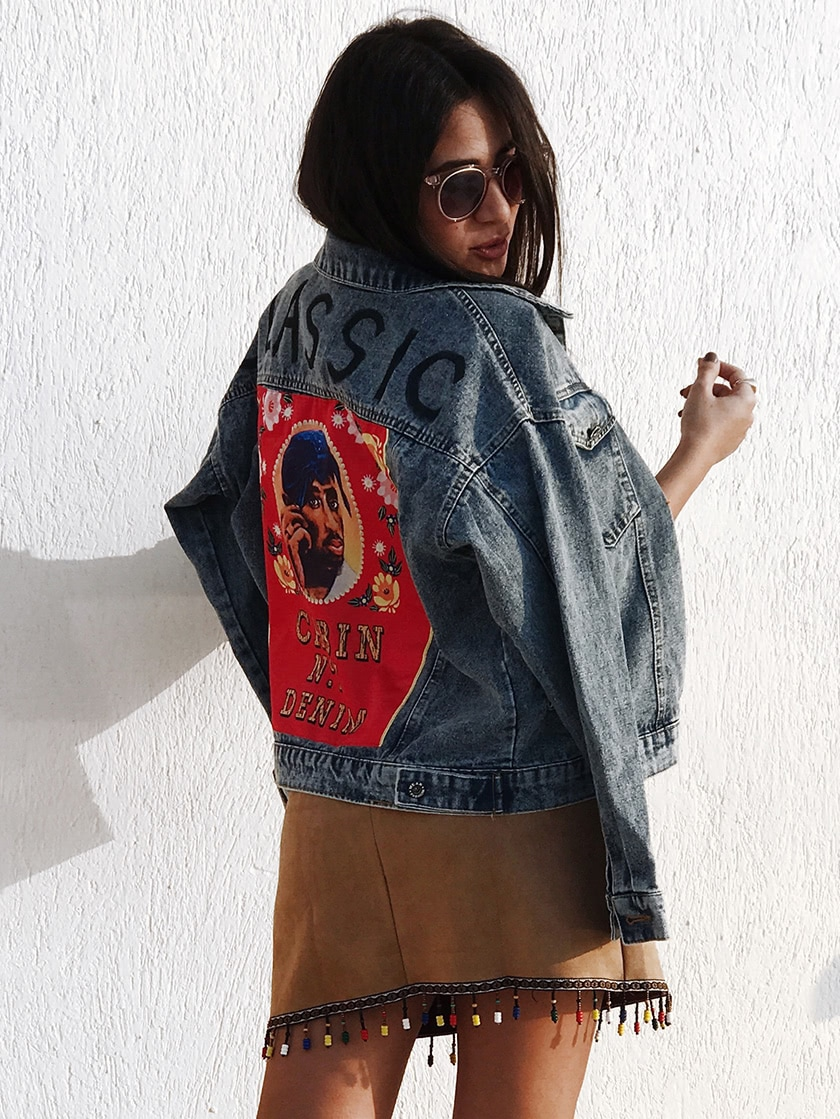 Patch Back Letter Print Bleach Wash Denim Jacket two tone patch back letter ribbon detail bomber jacket
