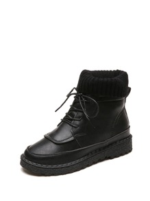Knit Detail Lace Up Ankle Boots