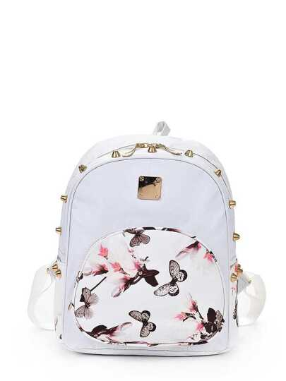 Zaino PU con stampa Pocket Front Butterfly