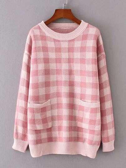Front Pocket Gingham Jumper Sweater