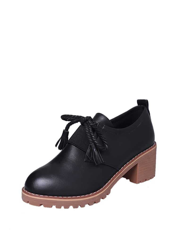 Tassel Tie PU Chunky Platform Shoes