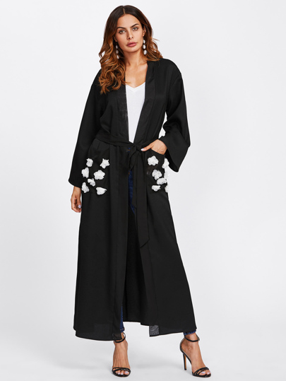 Contrast Flower Applique Pocket Belted Abaya