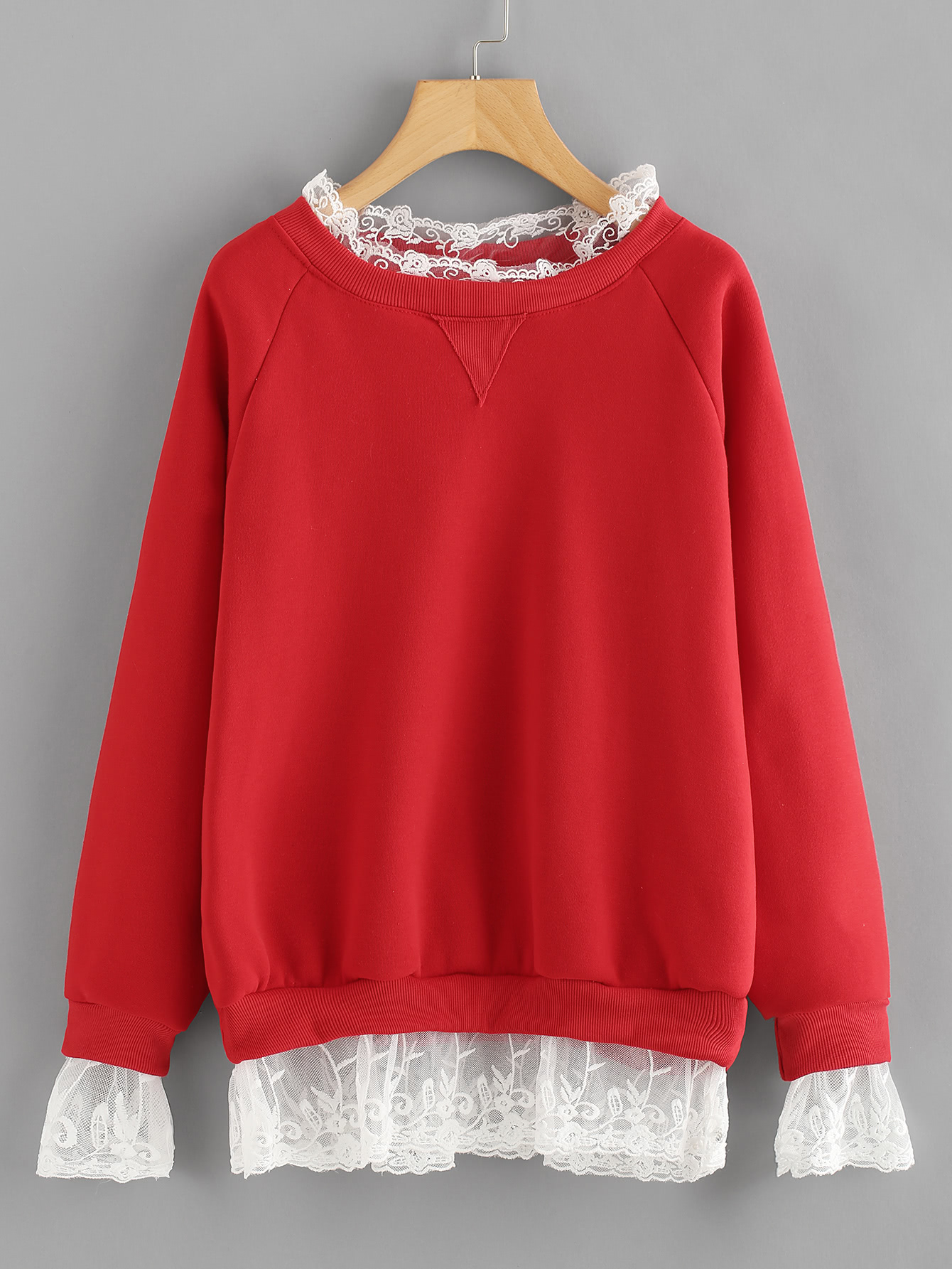 Lace Trim Raglan Sleeve Sweatshirt lace trim raglan sleeve tee