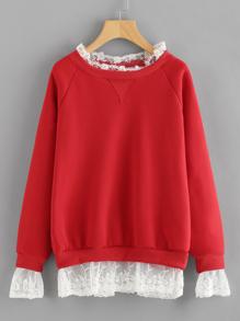 Lace Trim Raglan Sleeve Sweatshirt