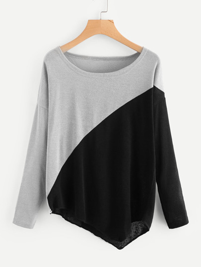 Two Tone Asymmetric Hem Tee