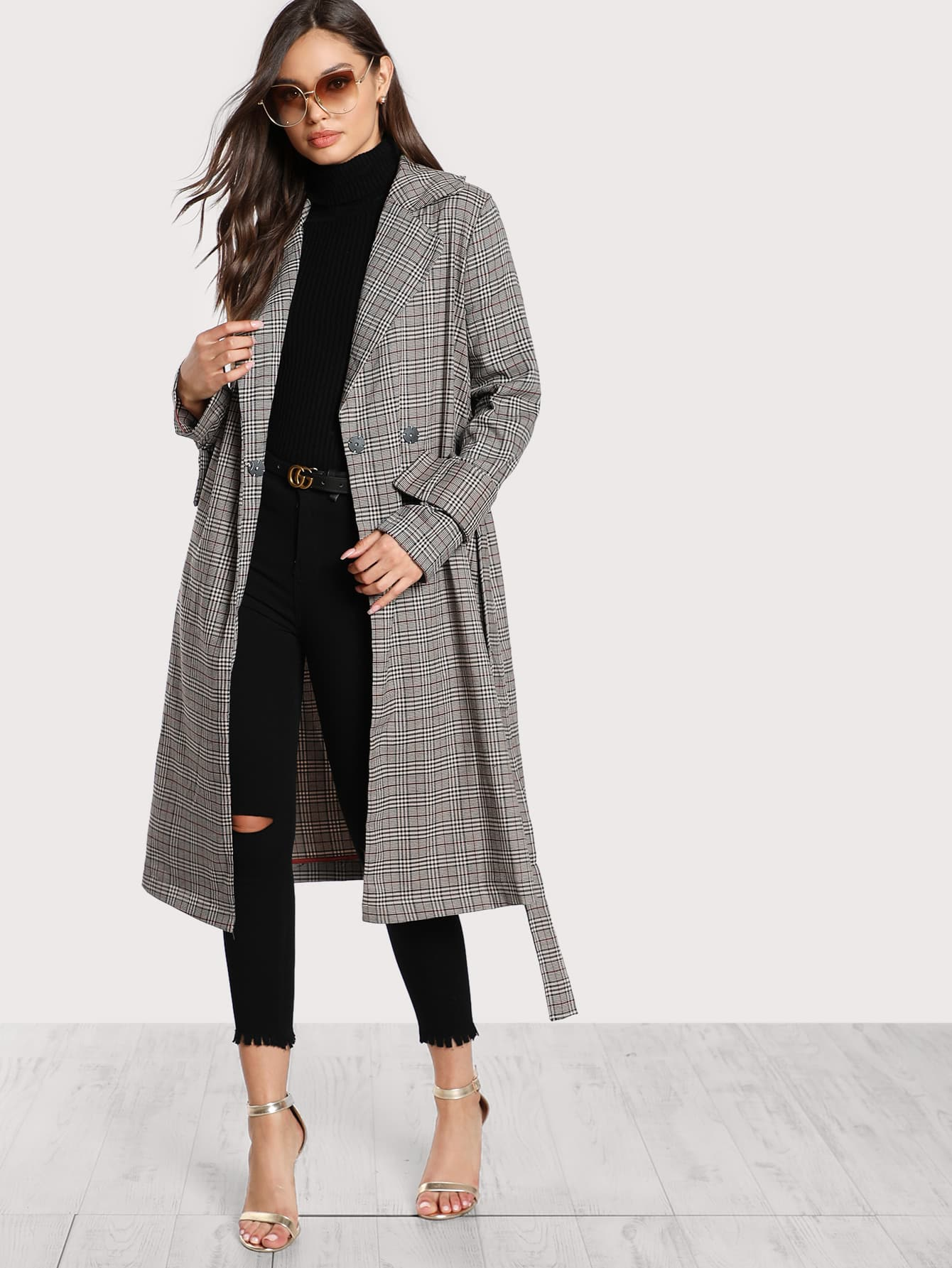 Image of Belted Cuff And Waist Plaid Coat