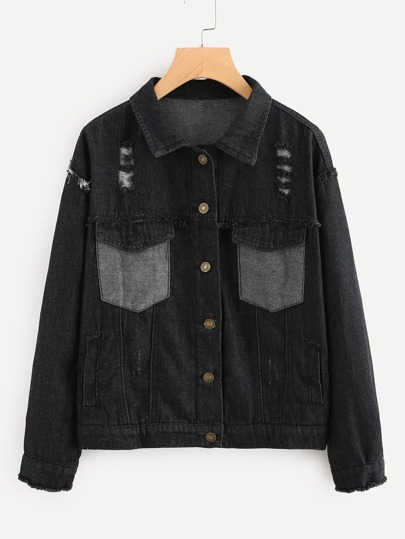 Frayed Hem Dual Pocket Ripped Denim Jacket