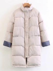 Contrast Cuff Padded Coat