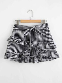Tiered Frill Trim Gingham Skirt