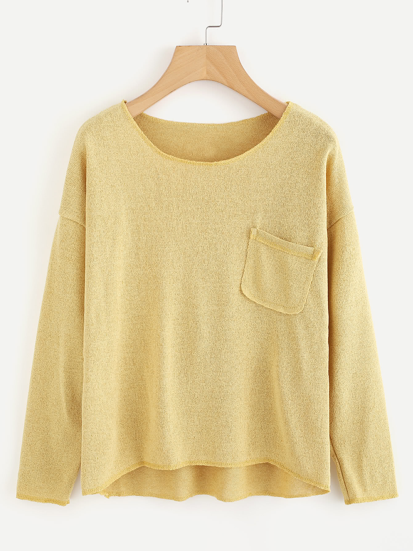 Drop Shoulder Chest Pocket Knit T-shirt two tone drop shoulder sweatshirt