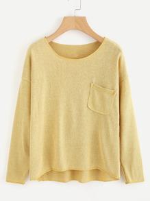 Drop Shoulder Chest Pocket Knit T-shirt