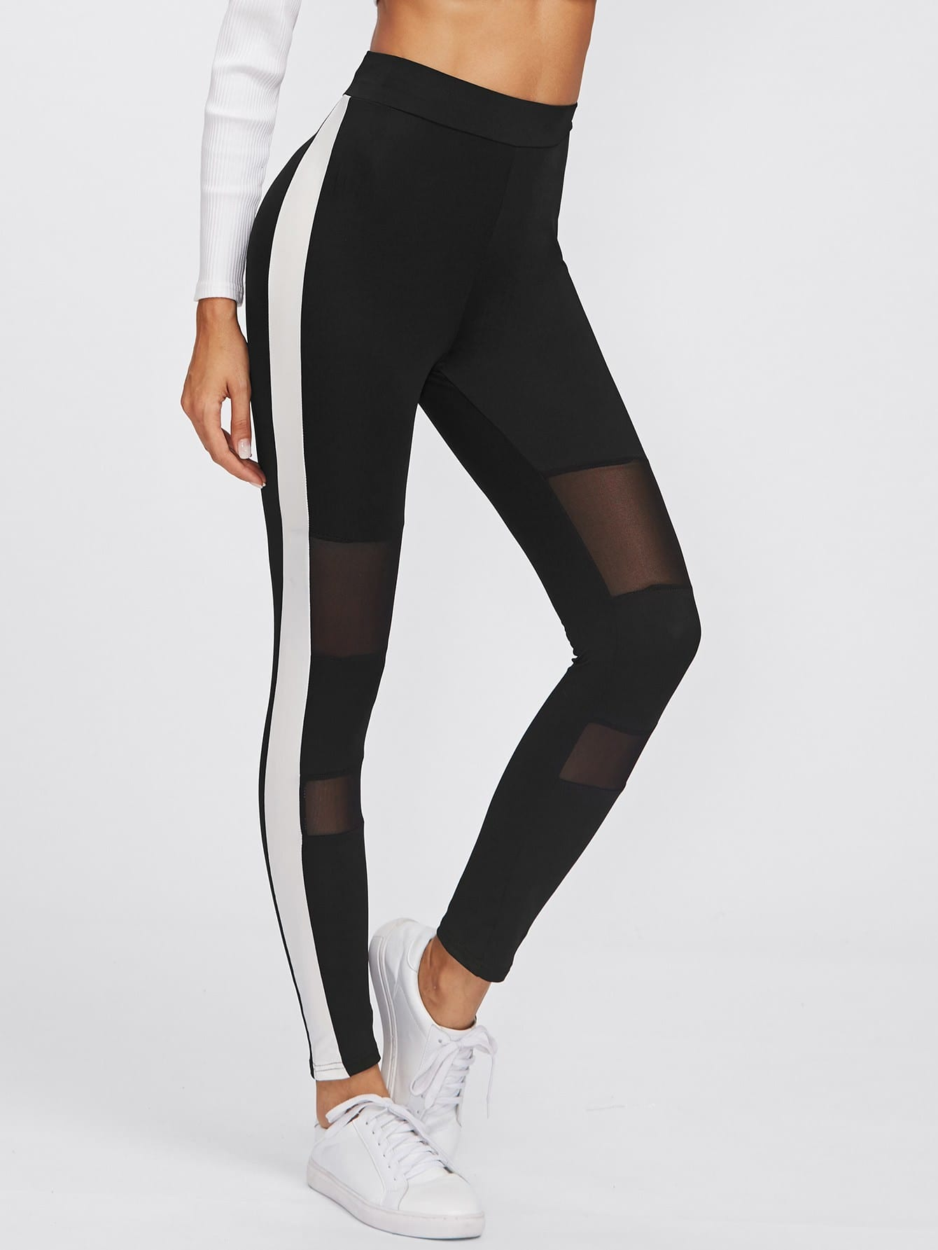 Side Panel Mesh Insert Empire Leggings цена