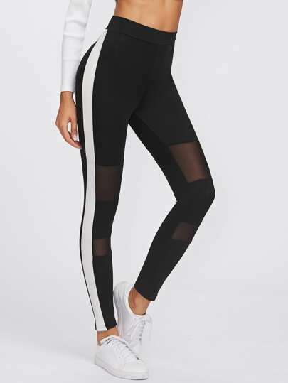 Side Panel Mesh Insert Empire Leggings