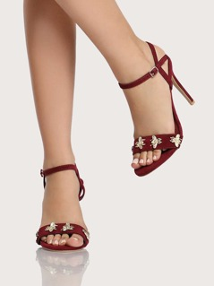 Bee Applique Ankle Strap Heels BURGUNDY