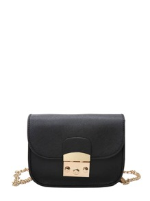 Buckle Decarated Flap Chain Bag