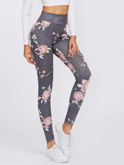 Flower Print High Waist Leggings