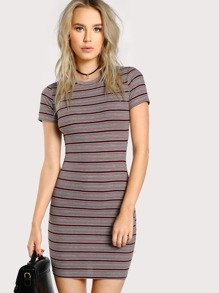 Rib Knit Striped Pencil Dress
