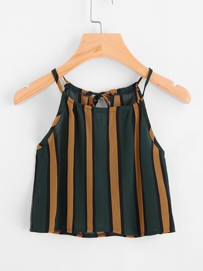 Vertical Striped Self Tie Back Cami Top