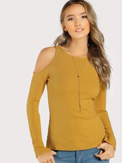 Open Shoulder Fluted Sleeve Ribbed Tee