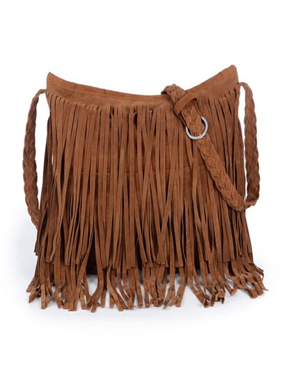 Suede Tassel Bag With Weave Strap