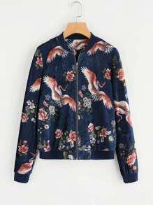 Mixed Print Velvet Bomber Jacket