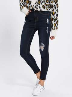 Dark Wash Embroidery Detail Shredded Jeans