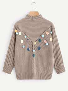 Sequin And Pompom Embellished Eyelet Mixed Knit Jumper