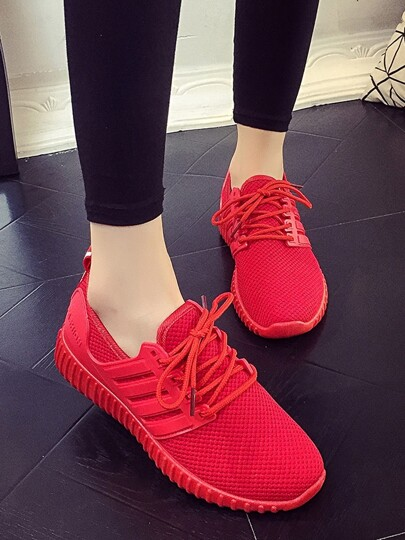 Romwe / Net Surface Lace Up Lace Up Sneakers