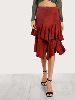 Tiered Ruffle Slit Suede Skirt BRICK