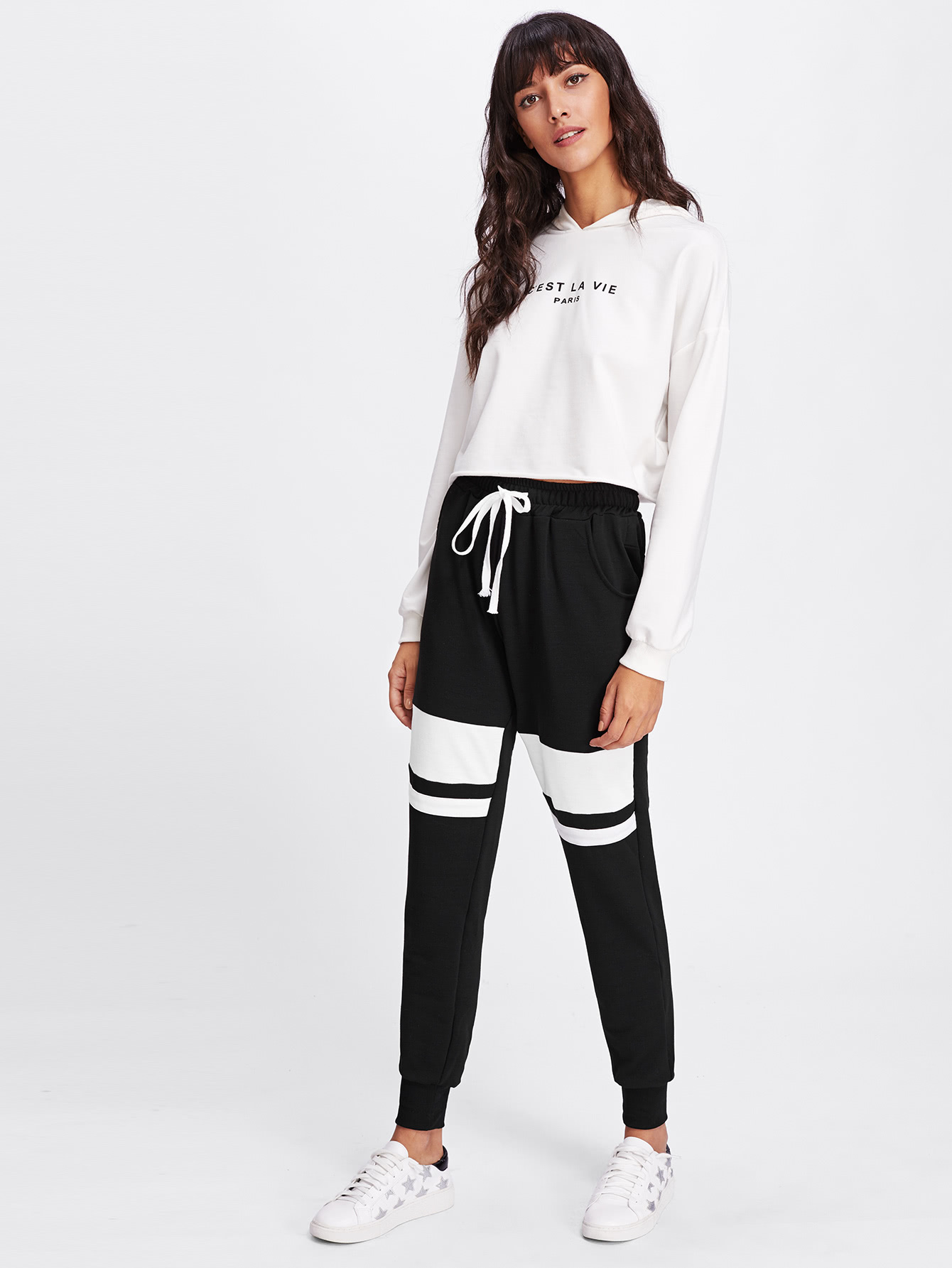 Image of Contrast Striped Drawstring Sweatpants