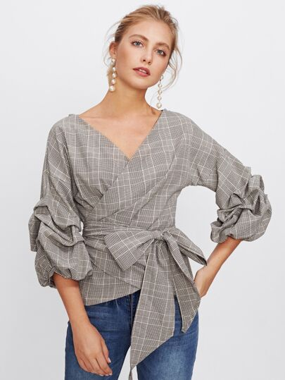 Gathered Sleeve Plaid Wrap Top