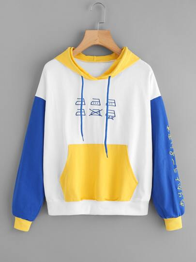 Color Block Embroidered Hoodie