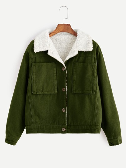 Single Breasted Sherpa Lined Jacket