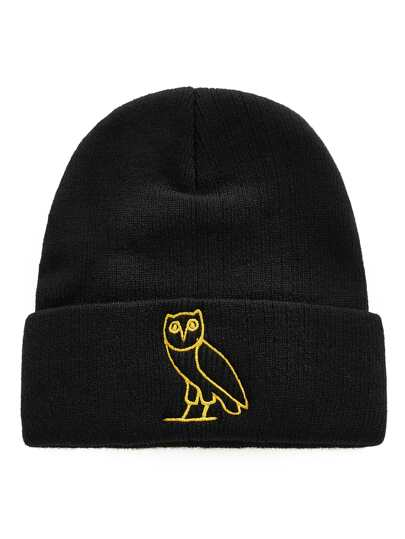 Embroidered Owl Beanie Hat