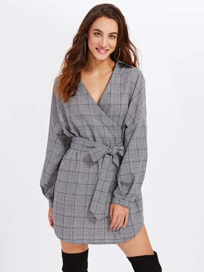 Surplice Front Dolphin Hem Belted Plaid Dress