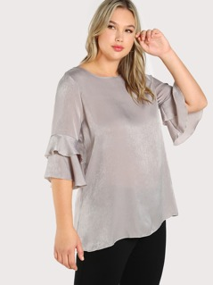 Plus Buttoned Keyhole Back Layered Fluted Sleeve Top