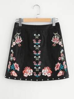 Studded Hem Embroidered Faux Leather Skirt