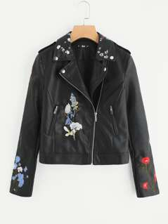 Botanical Embroidery PU Biker Jacket