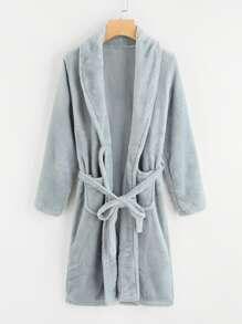 Pocket Front Tie Waist Robe