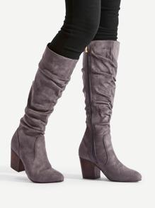 Block Heeled Mid Calf Boots